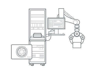 Illustration of an automated tester with a robotic arm