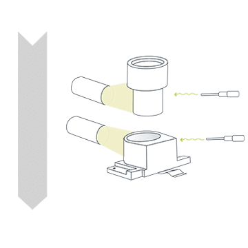 Drawing of the Preparation step in the active alignment process for camera modules.