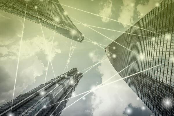 Connectivity displayed between 3 skyscrapers