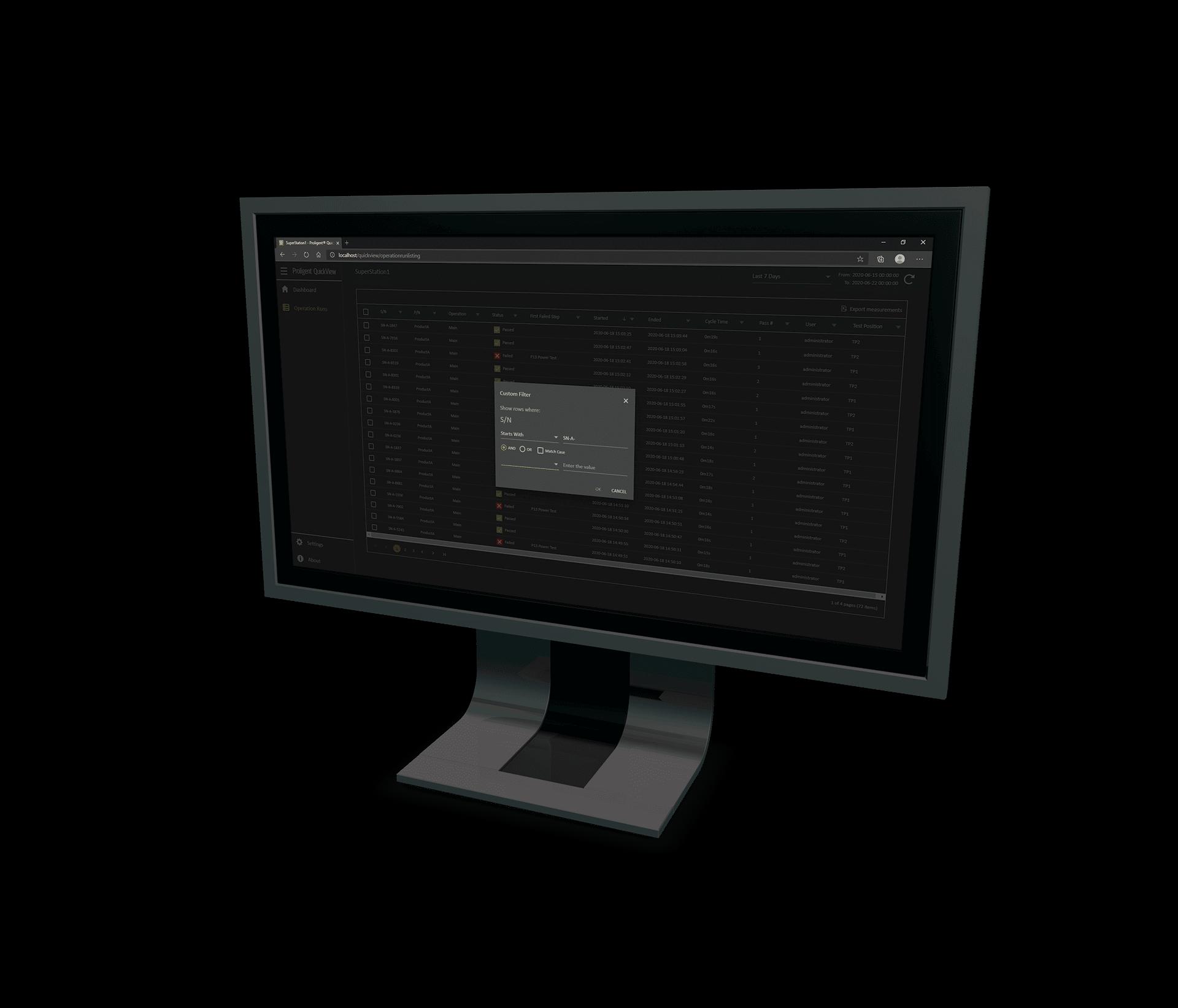 ProligentQuickView Screen Operation Run Custom Filter