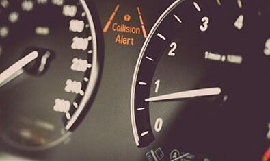 Automotive speedometer with ADAS collision alert