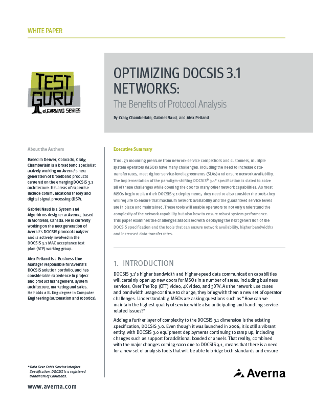 Optimizing DOCSIS 3.1 Networks: The Benefits of Protocol Analysis