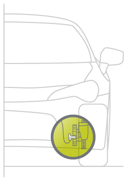 Drawing of placement of the active wheel speed sensor placed in a car