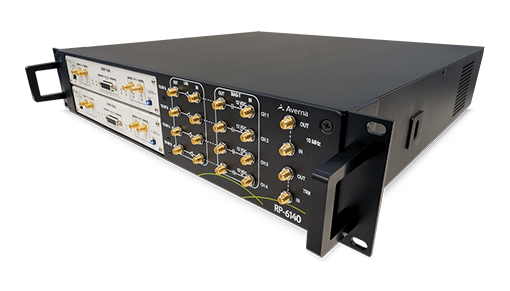 RP-6140 Multi-Channel Record and Playback. It has a Frequency range of 10–6000 MHz, up to 4×40 MHz or 2×80 MHz bandwidth, 14-bit resolution, tight channel synchronization. It records up to 20 hours, includes RF Studio for quick setup/analysis and supports a software-defined.