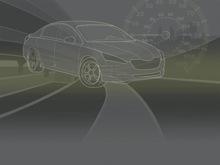 Image of a drawn car using radar for ADAS safety